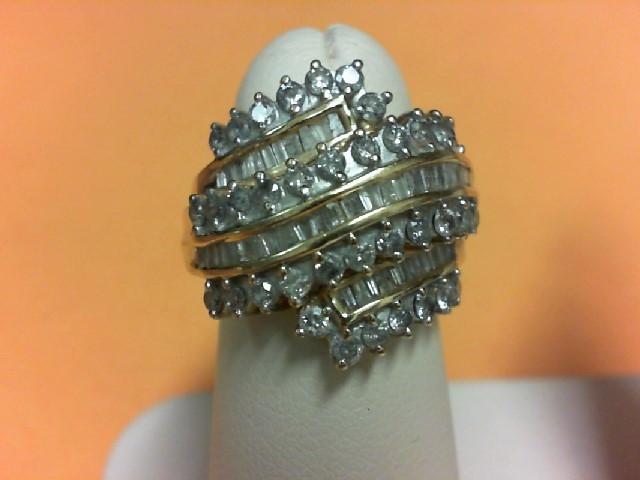 Gent's Diamond Cluster Ring 82 Diamonds 2.00 Carat T.W. 10K Yellow Gold 5.3g