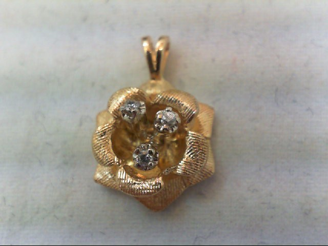 Gold-Multi-Diamond Pendant 3 Diamonds .06 Carat T.W. 14K Yellow Gold 2.7g