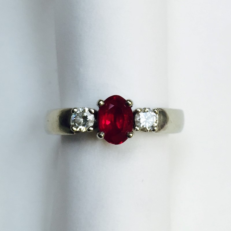 Synthetic Ruby Lady's Stone & Diamond Ring 2 Diamonds .32 Carat T.W.