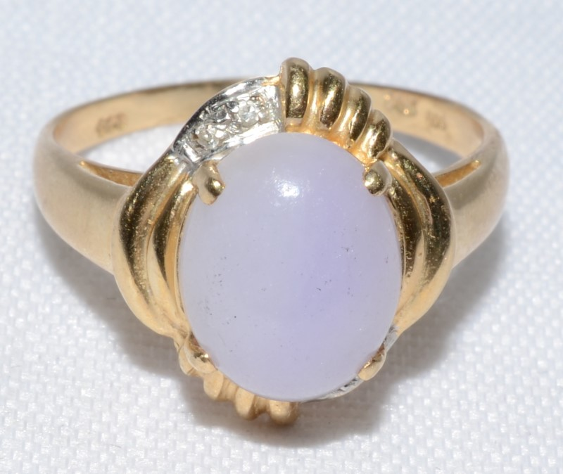 Lds Pink Stone & Diamond Ring, with (4) Diamonds.