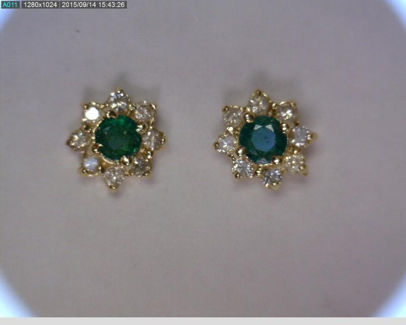 Emerald Gold-Diamond & Stone Earrings 16 Diamonds .16 Carat T.W.