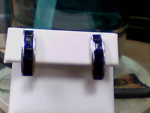 Purple Stone Silver-Stone Earrings 925 Silver 3.9g
