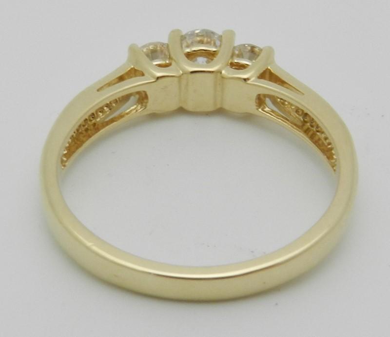 Lady's Diamond Engagement Ring 3 Diamonds .52 Carat T.W. 14K Yellow Gold 3g