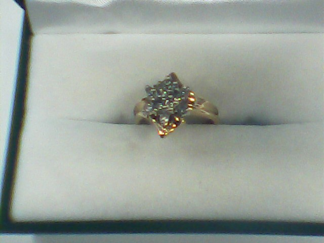 Lady's Diamond Cluster Ring 13 Diamonds .39 Carat T.W. 14K Yellow Gold 3.1dwt