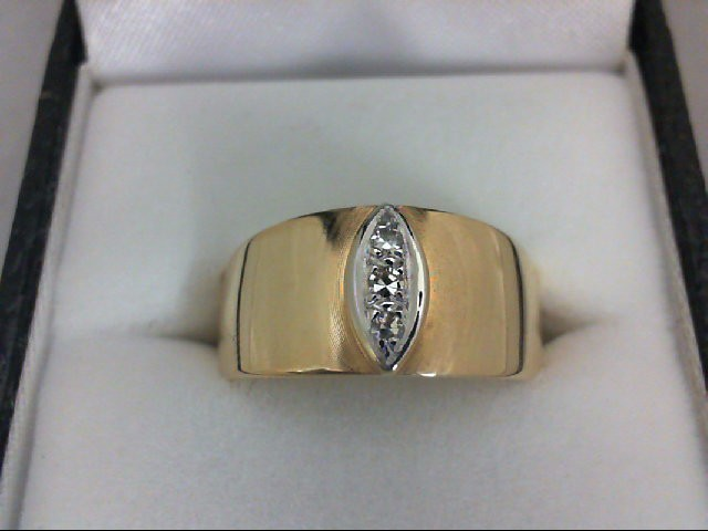 Lady's Diamond Wedding Band 3 Diamonds 0.09 Carat T.W. 14K Yellow Gold 5g