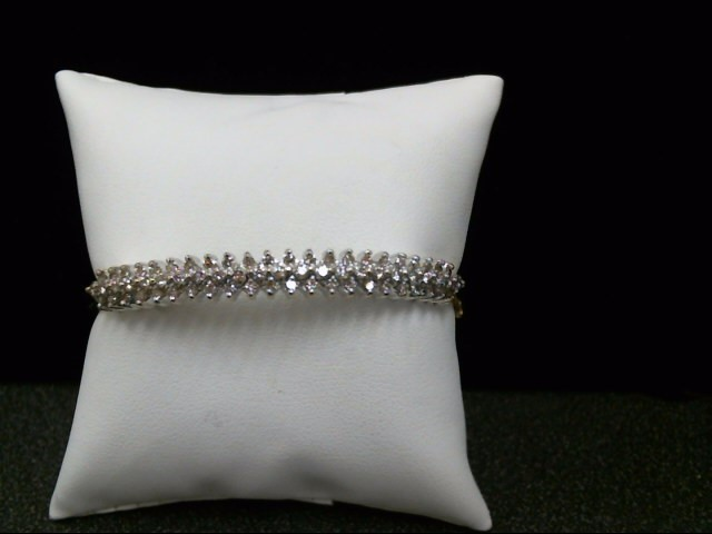 Gold-Diamond Bracelet 67 Diamonds .90 Carat T.W. 10K Yellow Gold 18.7g