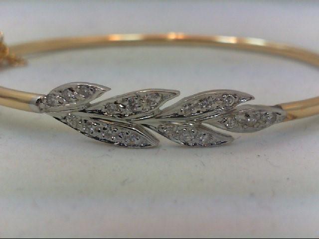 Gold-Diamond Bracelet 19 Diamonds .20 Carat T.W. 14K Yellow Gold 5g