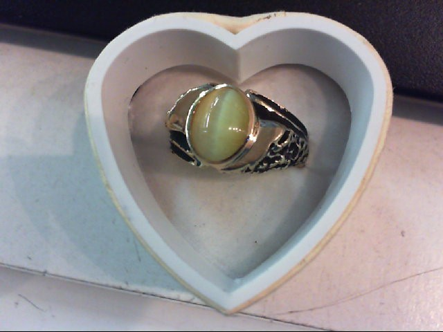 Synthetic Cats Eye Crysoberyl Gent's Stone Ring 10K Yellow Gold 5.5g