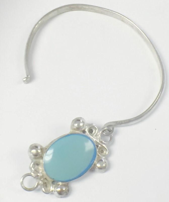Taxco Mexican Sterling Silver Light Blue Enamel Hook Bracelet