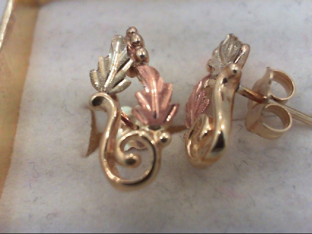 Gold Earrings 10K Tri-color Gold 1.9g