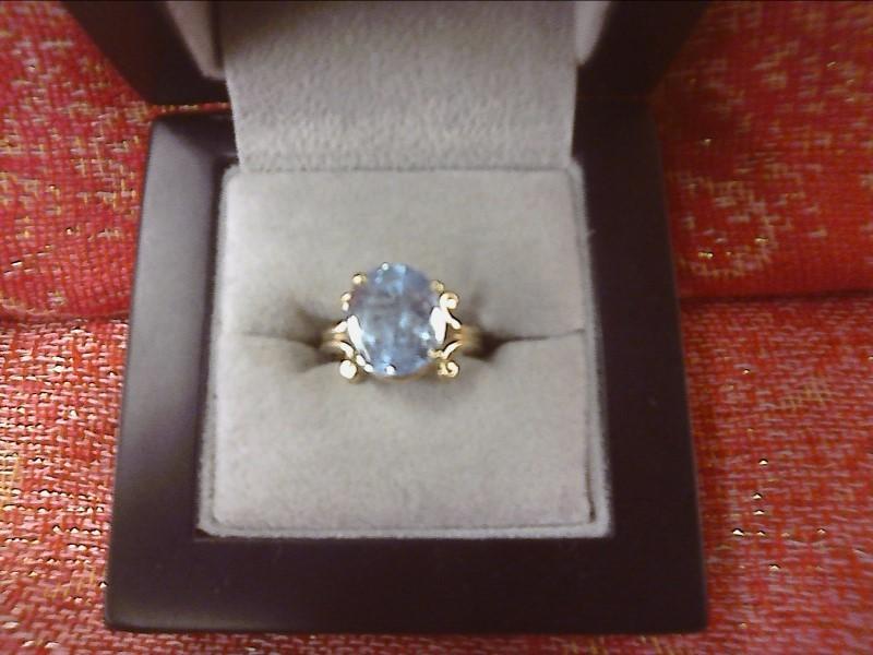 Blue Topaz Lady's Stone Ring 10K Yellow Gold 2.6dwt