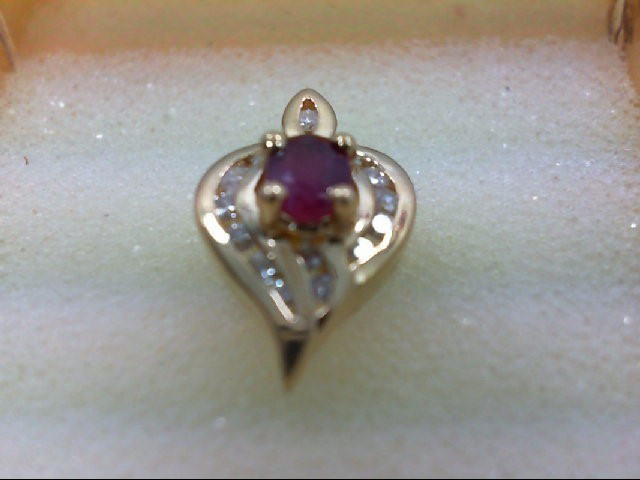 Ruby Gold-Diamond & Stone Pendant 14 Diamonds 0.28 Carat T.W. 14K Yellow Gold 2g