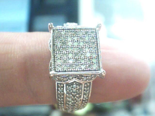 Lady's Diamond Cluster Ring 177 Diamonds .177 Carat T.W. 10K White Gold 2.6dwt