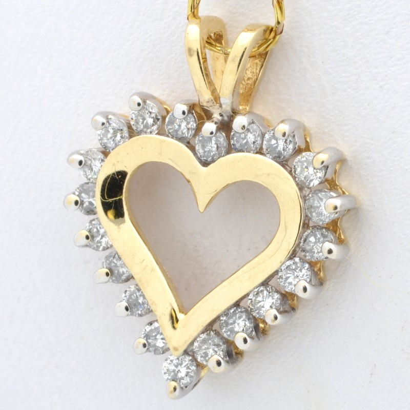 ESTATE DIAMOND HEART PENDANT CHARM SOLID 14K GOLD LOVE VALENTINE DAY