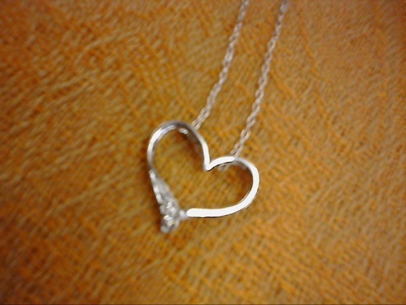 NECKLACE JEWELRY JEWELRY; HEART PENDANT WITH THREE CZ ON THE END OF THE HEART ST