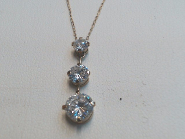 "21"" White Stone Stone Necklace 10K Yellow Gold 1.3g"