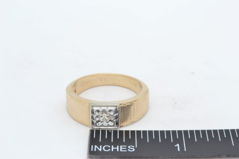 ESTATE MENS DIAMOND RING BAND SOLID 10K YELLOW GOLD WEDDING SIZE 10