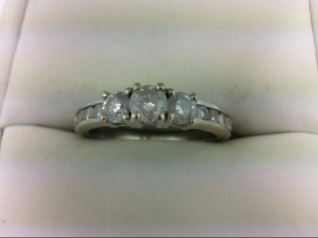 Lady's Diamond Engagement Ring 11 Diamonds 1.01 Carat T.W. 10K White Gold 2.9g S