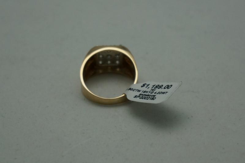 Gent's Diamond Cluster Ring 9 Diamonds .90 Carat T.W. 18K Yellow Gold 4.2dwt