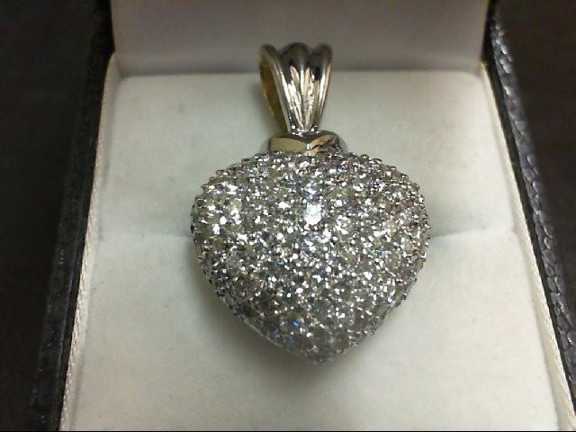 Gold-Multi-Diamond Pendant 88 Diamonds 2.3 Carat T.W. 18K White Gold 8.7g