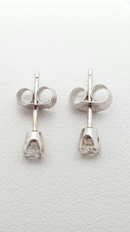 Gold-Diamond Earrings 2 Diamonds .26 Carat T.W. 14K White Gold 0.6g