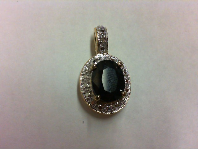 Sapphire Silver-Diamond & Stone Pendant 0.01 CT. 925 Silver 2.4g