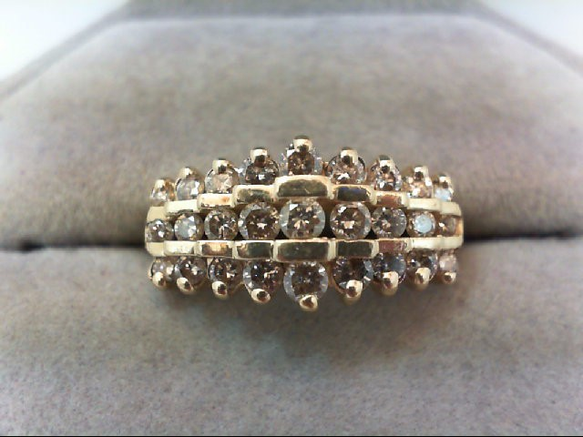Lady's Diamond Wedding Band 27 Diamonds 1.00 Carat T.W. 10K Yellow Gold 4g