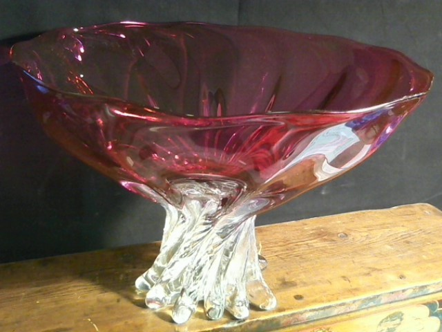 ED BRANSON Glass/Pottery ARBOR BOWL RUBY