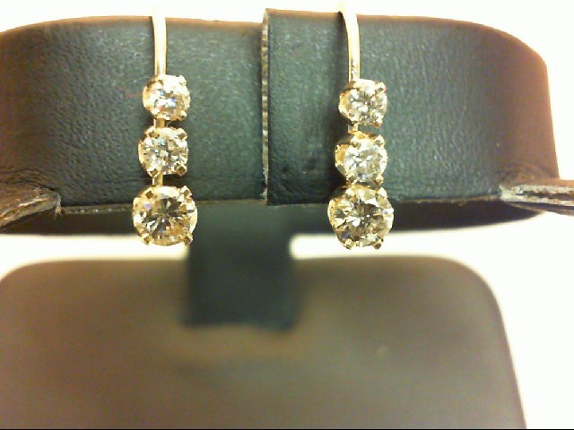 Gold-Diamond Earrings 6 Diamonds 0.46 Carat T.W. 14K Yellow Gold 1.2g
