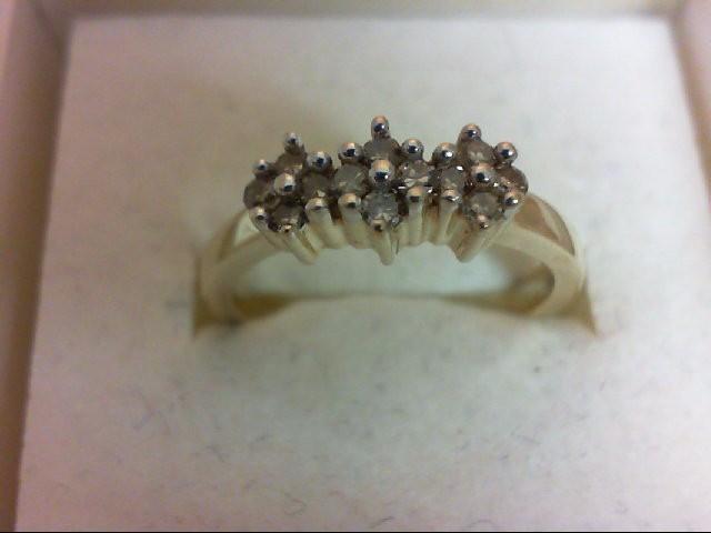 Lady's Diamond Wedding Band 12 Diamonds 0.24 Carat T.W. 10K Yellow Gold 2.4g Siz