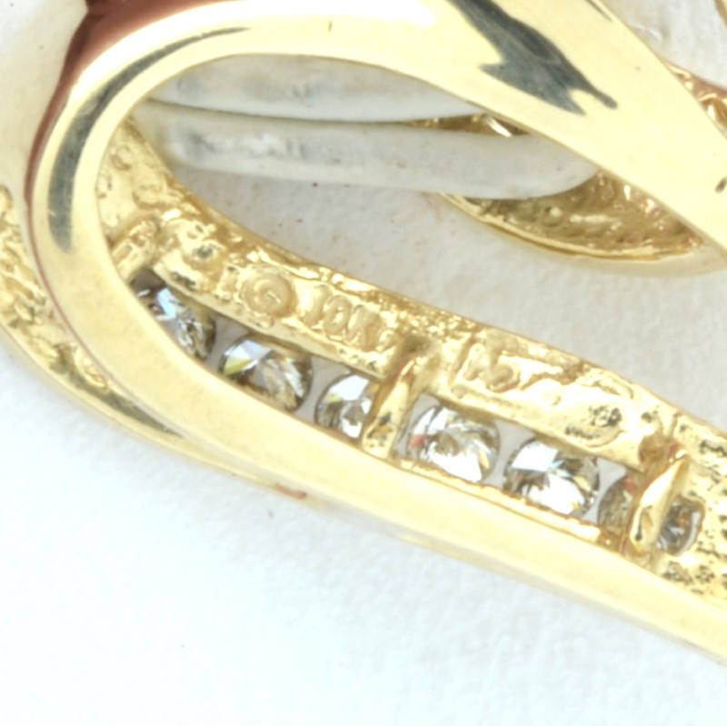 ESTATE DIAMOND HEART PENDANT CHARM SOLID 10K GOLD CLUSTER LOVE FINE