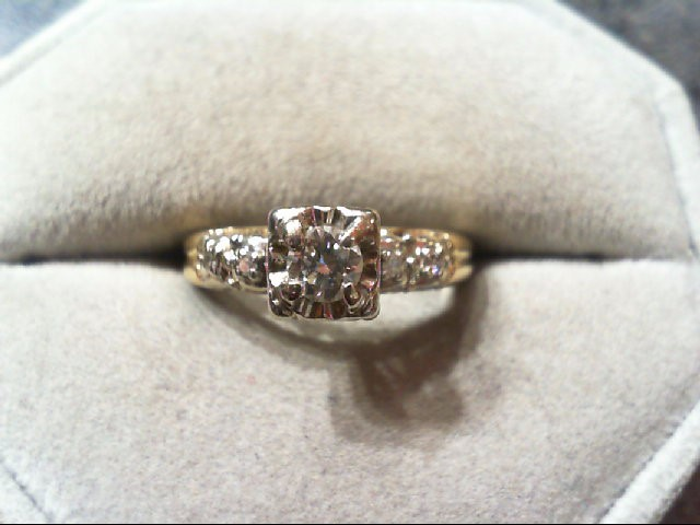 Lady's Diamond Engagement Ring 5 Diamonds .32 Carat T.W. 14K 2 Tone Gold 3g