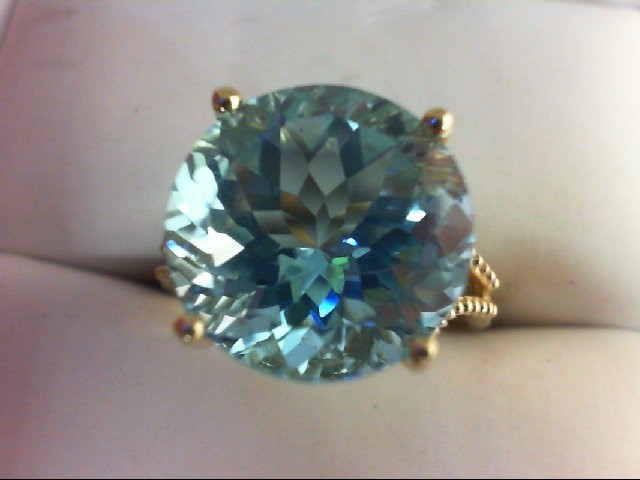 Blue Topaz Lady's Stone Ring 14K Yellow Gold 5g