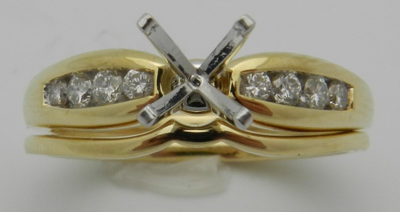 Lady's Diamond Wedding Set 8 Diamonds .22 Carat T.W. 18K Yellow Gold 6.1g