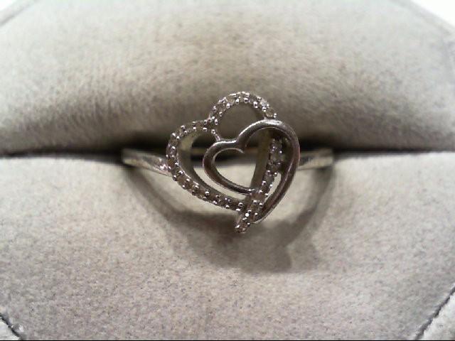 Lady's Silver-Diamond Ring 30 Diamonds .150 Carat T.W. 925 Silver 2.1g