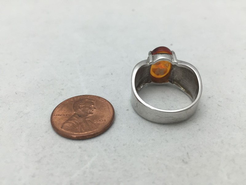 Synthetic Amber Lady's Silver & Stone Ring 925 Silver 4.7dwt Size:9