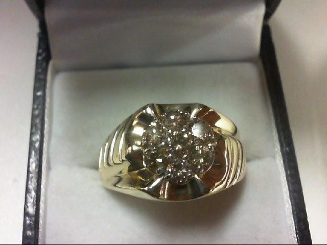 Gent's Diamond Cluster Ring 7 Diamonds 0.87 Carat T.W. 10K Yellow Gold 6.6g
