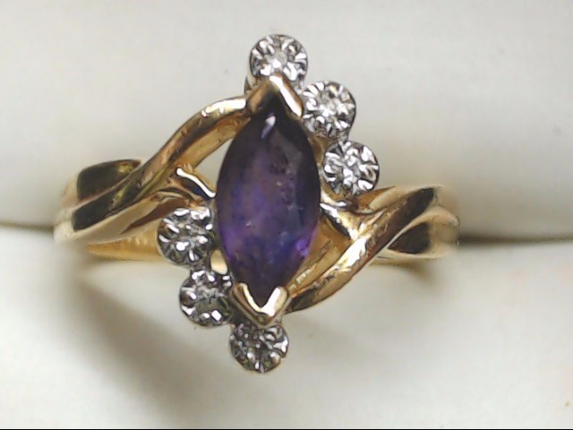 Synthetic Amethyst Lady's Stone Ring 10K Yellow Gold 3.8g Size:5.5