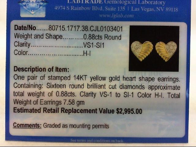 Gold-Diamond Earrings 16 Diamonds .80 Carat T.W. 14K Yellow Gold 7.58g
