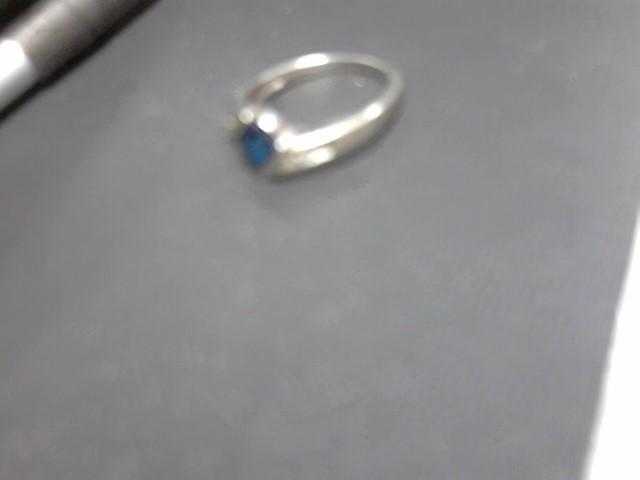 Blue Stone Lady's Stone & Diamond Ring 4 Diamonds .020 Carat T.W.