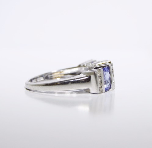 Tanzanite Lady's Stone & Diamond Ring 16 Diamonds .16 Carat T.W. 14K White Gold