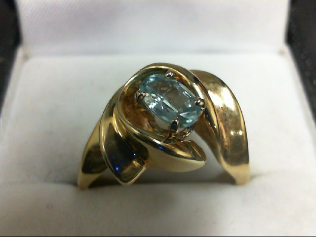 Blue Topaz Lady's Stone Ring 14K Yellow Gold 5.4g