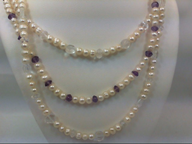 Synthetic Pearl Stone Necklace 925 Silver 38.1g