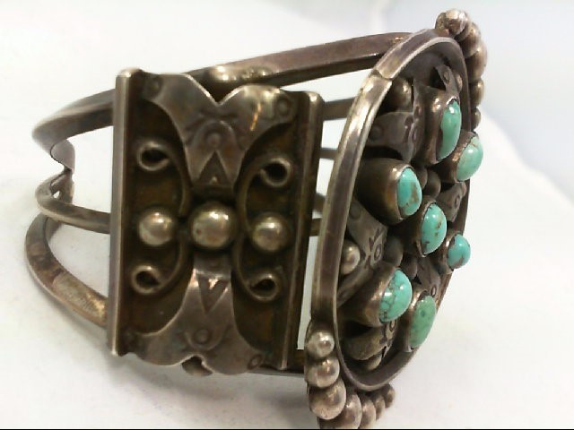 Native American Silver and Turquoise Cuff 84G