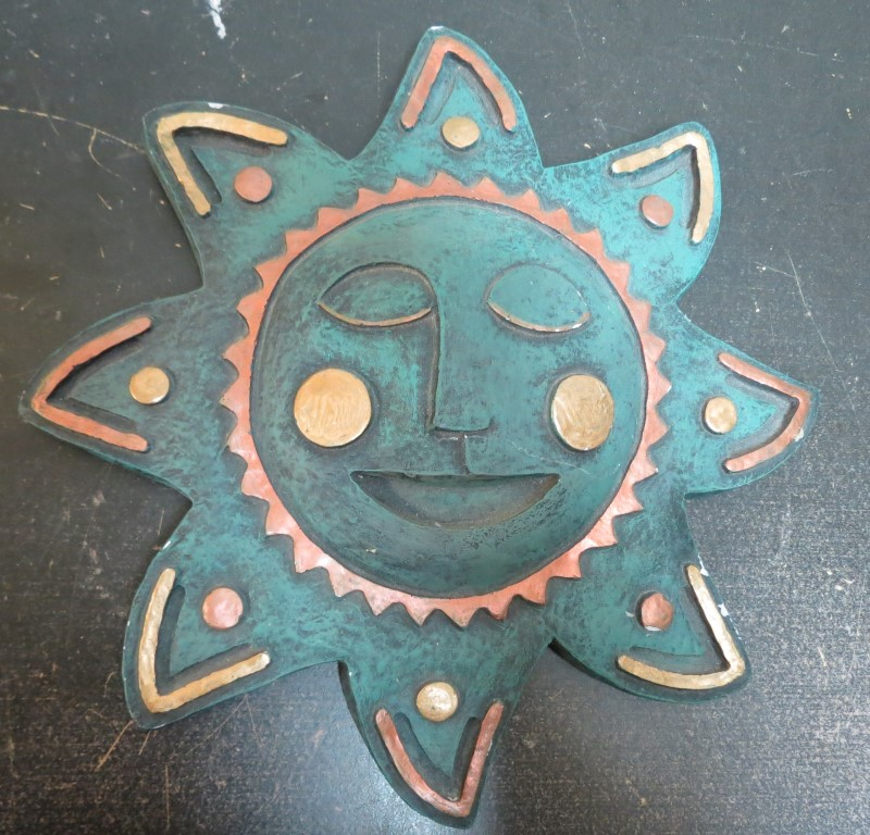 "10.5"" SMILING SUN FACE, TURQUOISE COPPER/GOLD, PLASTER/RESIN"