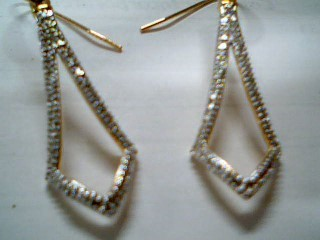 Silver-Diamond Earrings 2 Diamonds .02 Carat T.W. 925 Silver 3.1g