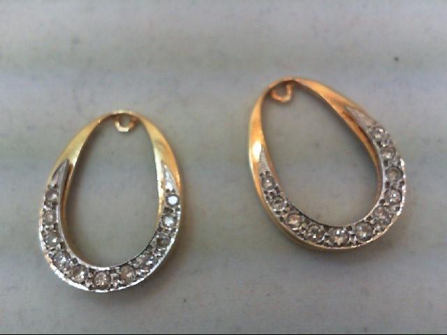 Gold-Diamond Earrings 22 Diamonds .64 Carat T.W. 14K Yellow Gold 4.7g