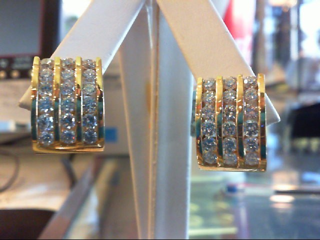 Gold-Diamond Earrings 36 Diamonds 3.96 Carat T.W. 14K Yellow Gold 14.5g