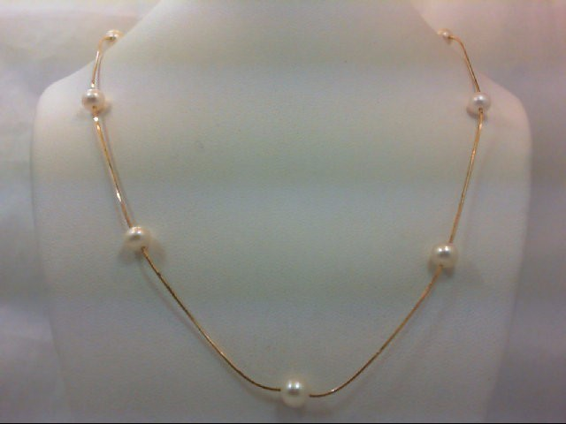 Pearl Stone Necklace 14K Yellow Gold 3.7g