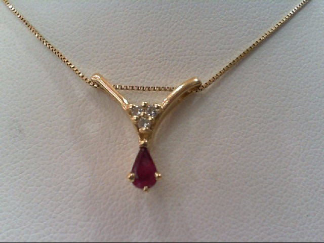 Ruby Gold-Diamond & Stone Pendant 3 Diamonds .03 Carat T.W. 14K Yellow Gold